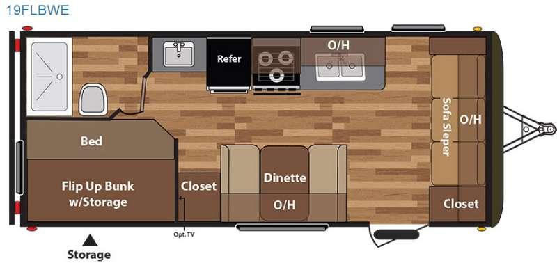 Floorplan - 2016 Keystone RV Hideout 19FLBWE
