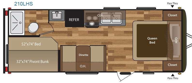 Floorplan - 2016 Keystone RV Hideout 210LHS