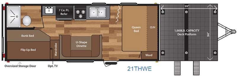 Floorplan - 2016 Keystone RV Hideout 21THWE
