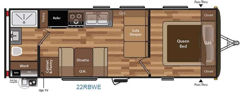 Floorplan - 2016 Keystone RV Hideout 22RBWE