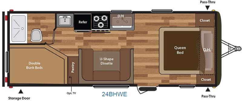 Floorplan - 2016 Keystone RV Hideout 24BHWE