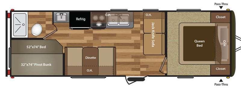Hideout 260LHS Floorplan Image
