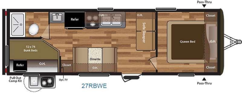 Floorplan - 2016 Keystone RV Hideout 27RBWE