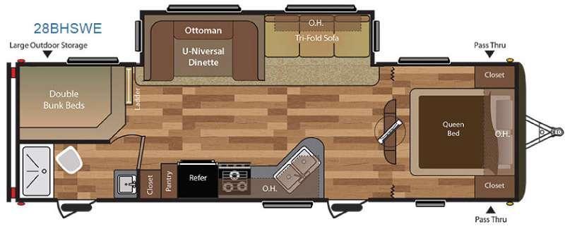Floorplan - 2016 Keystone RV Hideout 28BHSWE