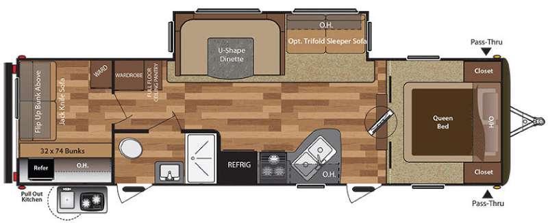 Floorplan - 2016 Keystone RV Hideout 29BHS
