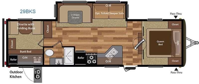 Floorplan - 2016 Keystone RV Hideout 29BKS