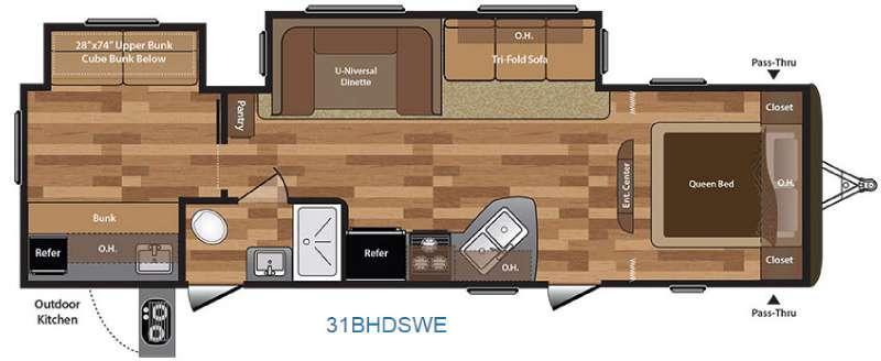 Floorplan - 2016 Keystone RV Hideout 31BHDSWE