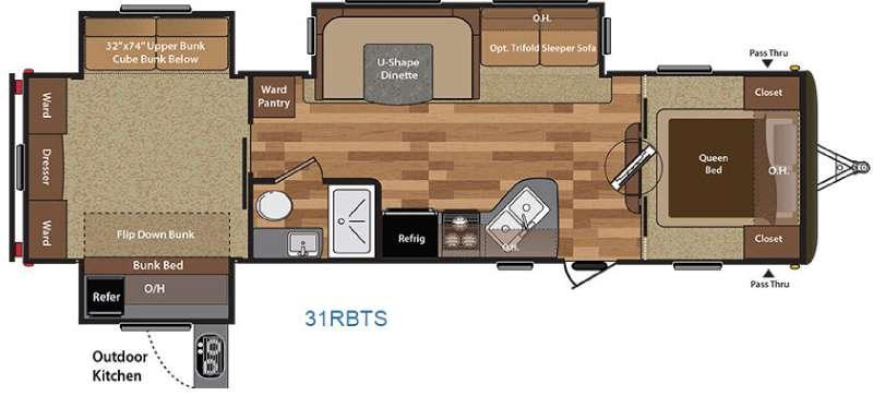 Floorplan - 2016 Keystone RV Hideout 31RBTS
