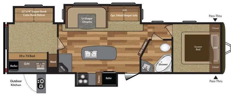 Floorplan - 2016 Keystone RV Hideout 32BHTS