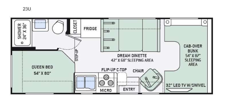 Floorplan - 2016 Thor Motor Coach Chateau 23U