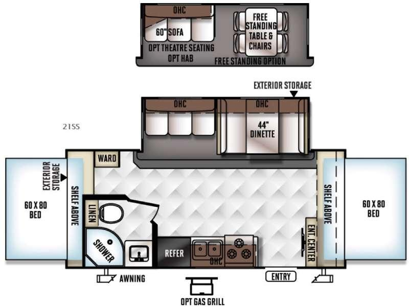 Floorplan - 2016 Forest River RV Rockwood Roo 21SS
