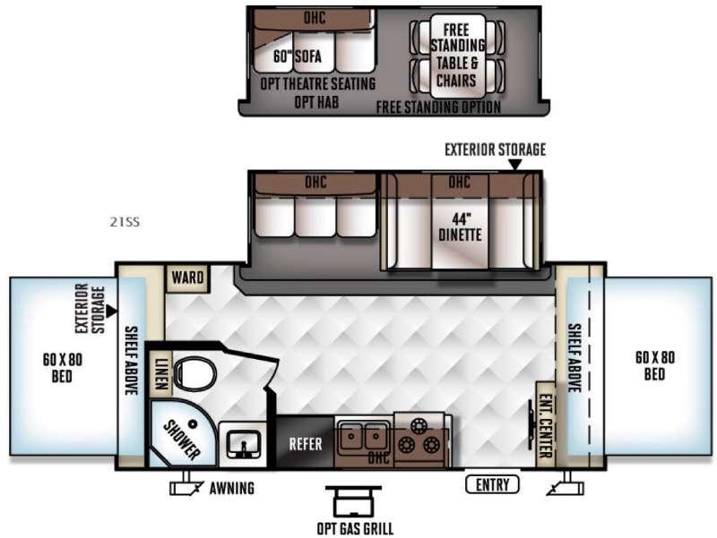Floorplan - 2016 Forest River RV Rockwood Roo 21SS