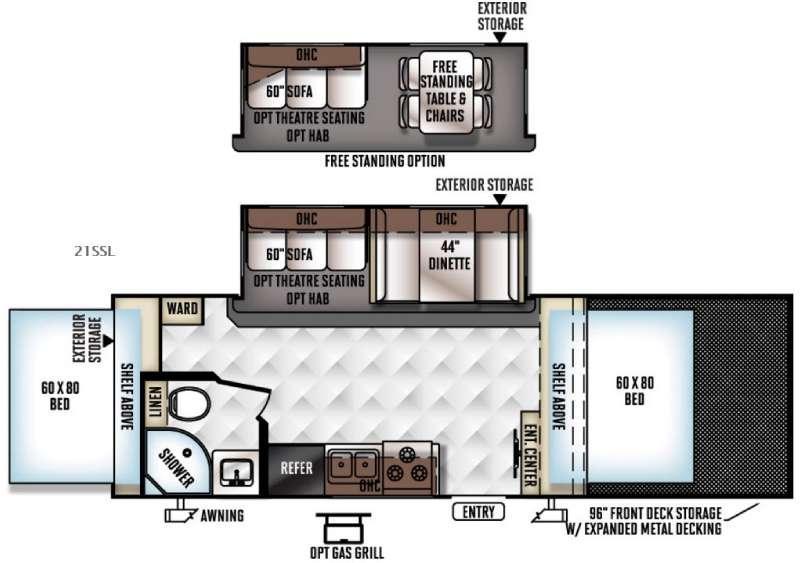 Floorplan - 2016 Forest River RV Rockwood Roo 21SSL