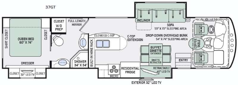 Floorplan - 2016 Thor Motor Coach Challenger 37GT
