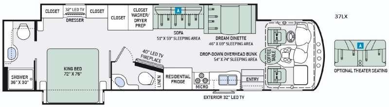 Floorplan - 2016 Thor Motor Coach Challenger 37LX