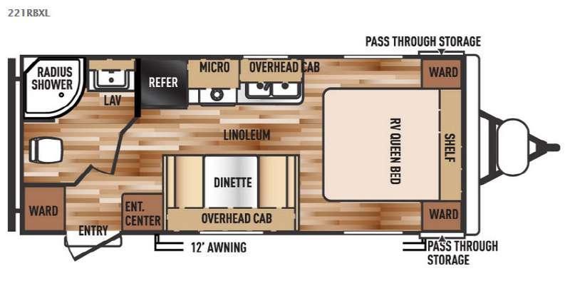 Wildwood X-Lite 221RBXL Floorplan Image