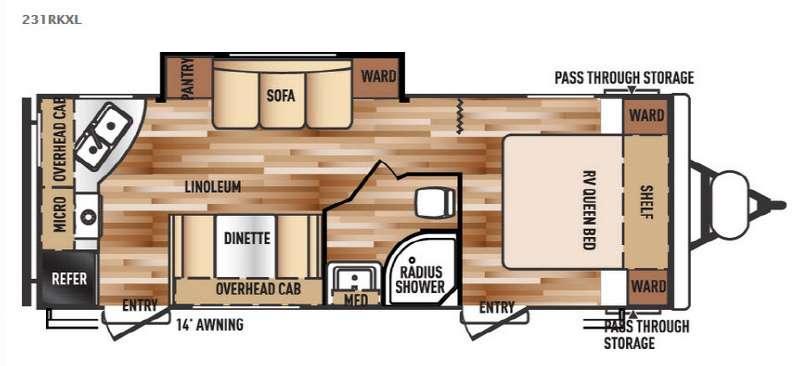 Wildwood X-Lite 231RKXL Floorplan Image
