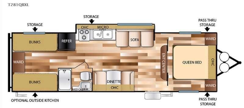 Floorplan - 2016 Forest River RV Wildwood X-Lite 281QBXL