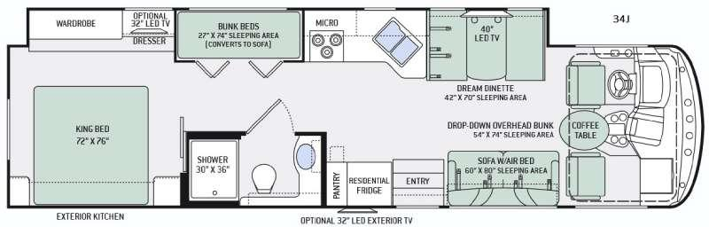 Floorplan - 2016 Hurricane 34J Motor Home Class A