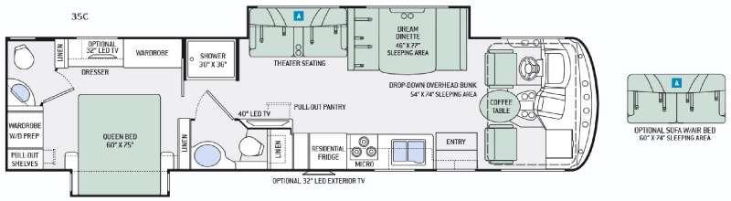 Floorplan - 2016 Thor Motor Coach Hurricane 35C