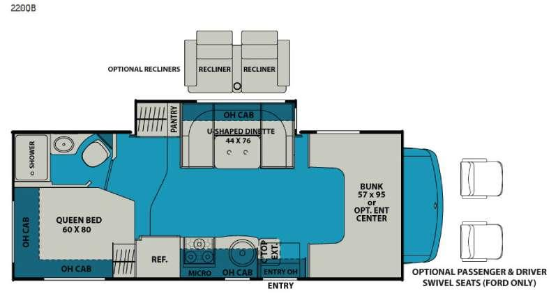 Floorplan - 2016 Leprechaun 220QB Ford 350 Motor Home Class C