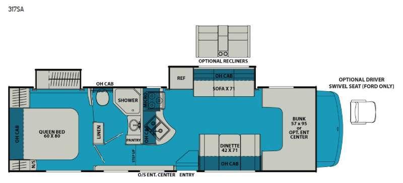 Leprechaun 317SA Ford 450 Floorplan Image