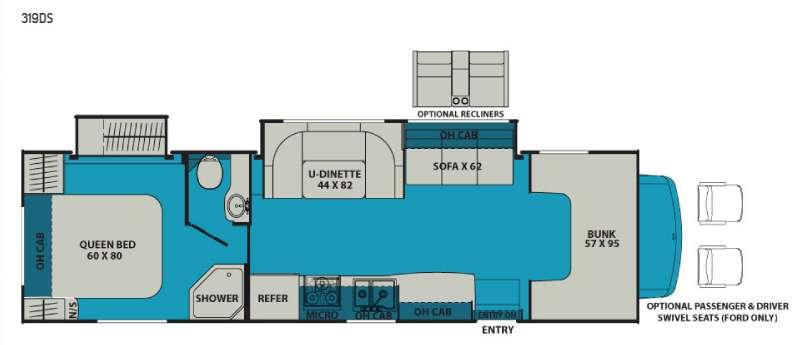 Leprechaun 319DS Ford 450 Floorplan Image