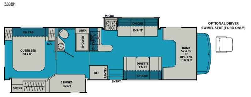 Leprechaun 320BH Ford 450 Floorplan Image