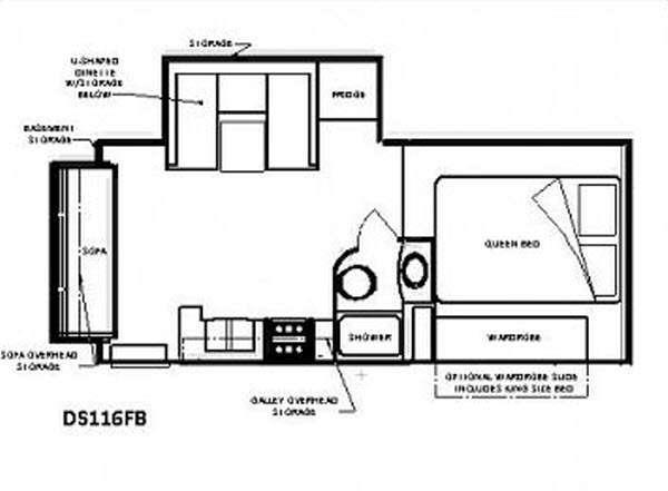 Floorplan - 2015 Chalet Truck Camper DS116FB
