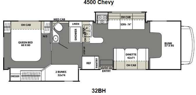Floorplan - 2016 Coachmen RV Freelander 32BH Chevy 4500