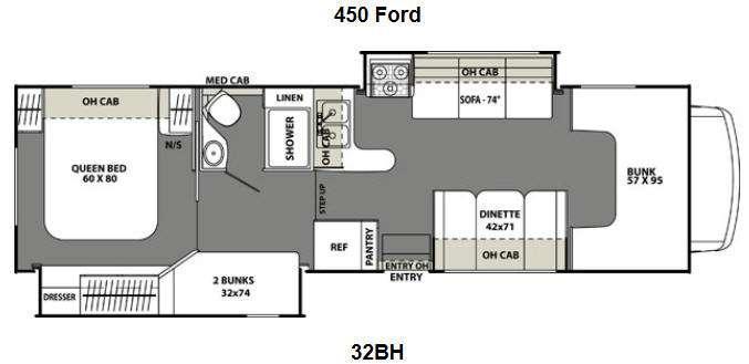 Floorplan - 2016 Coachmen RV Freelander 32BH Ford 450