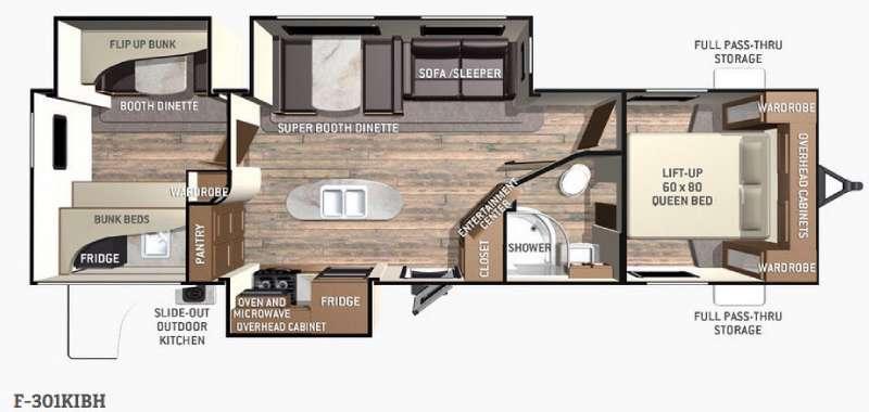 Floorplan - 2016 Cruiser Fun Finder F-301KIBH