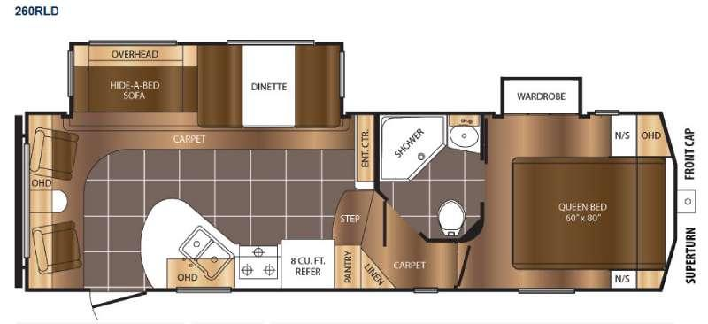 Floorplan - 2016 Prime Time RV Crusader 260RLD
