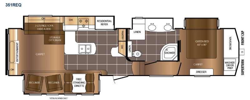 Floorplan - 2016 Prime Time RV Crusader 351REQ