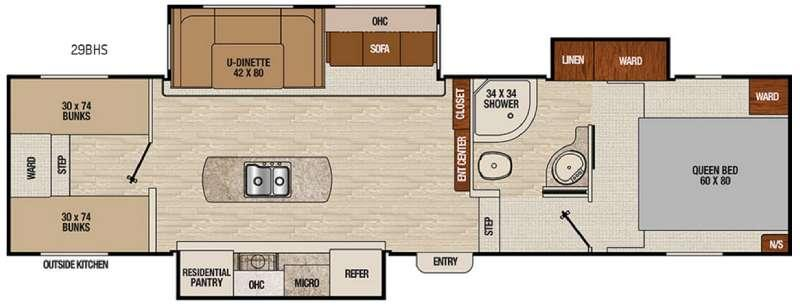 Floorplan - 2016 Coachmen RV Chaparral Lite 29BHS