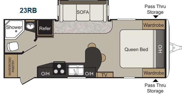 Floorplan - 2016 Keystone RV Passport 23RB Elite
