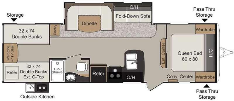 Floorplan - 2016 Keystone RV Passport 2920BH Grand Touring