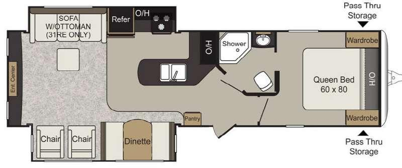 Floorplan - 2016 Keystone RV Passport 31RE Elite