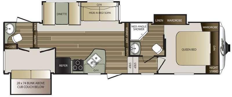 Floorplan - 2016 Keystone RV Cougar 301SAB