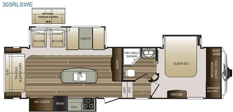 Floorplan - 2016 Keystone RV Cougar 303RLSWE