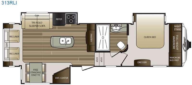 Floorplan - 2016 Keystone RV Cougar 313RLI