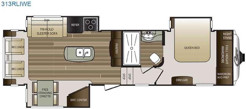Floorplan - 2016 Keystone RV Cougar 313RLIWE
