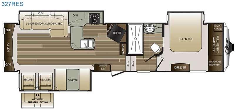 Floorplan - 2016 Keystone RV Cougar 327RES