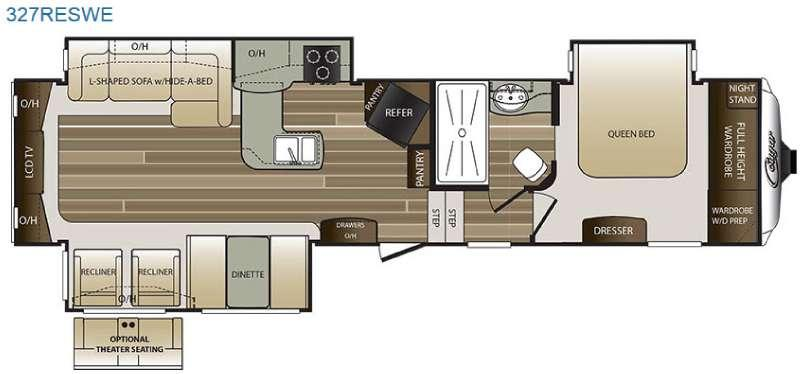 Floorplan - 2016 Keystone RV Cougar 327RESWE