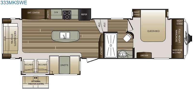 Floorplan - 2016 Keystone RV Cougar 333MKSWE