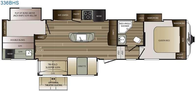 Floorplan - 2016 Keystone RV Cougar 336BHS