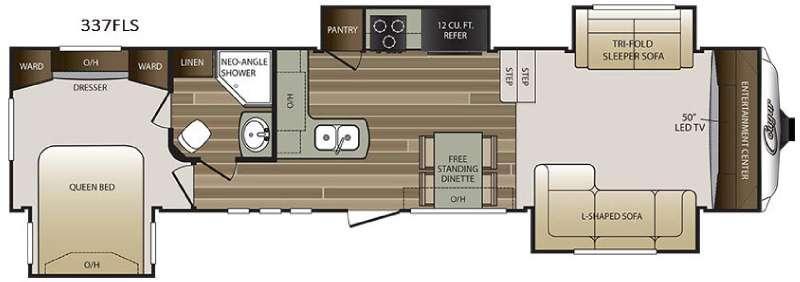 Floorplan - 2016 Keystone RV Cougar 337FLS
