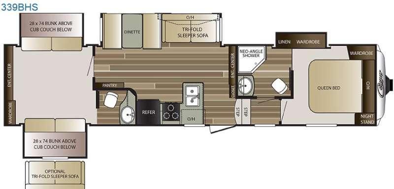 Floorplan - 2016 Keystone RV Cougar 339BHS