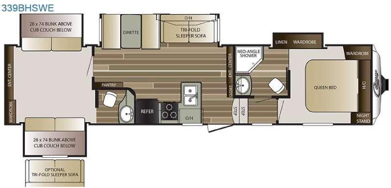 Floorplan - 2016 Keystone RV Cougar 339BHSWE