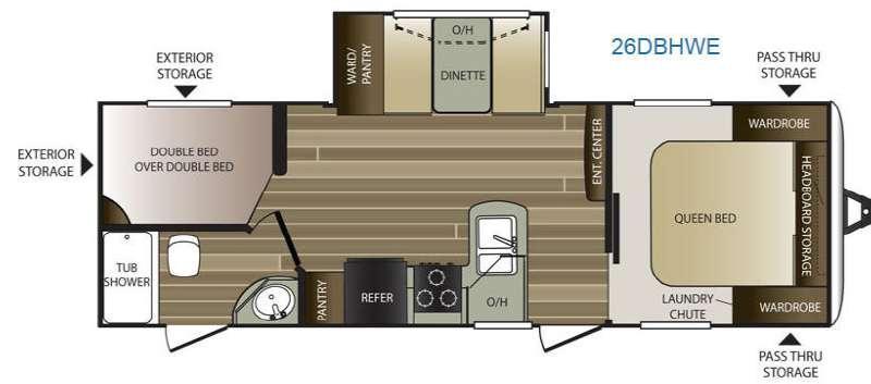Floorplan - 2016 Keystone RV Cougar Half-Ton Series 26DBHWE
